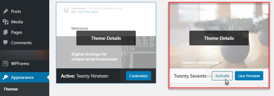 wordpress-theme-activation